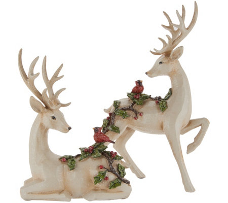 Set of 2 Deer Figurines with Embossed Cardinals by Valerie
