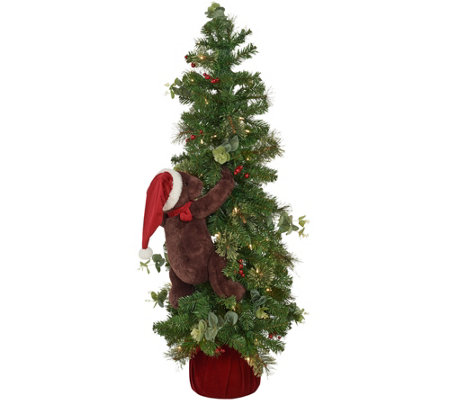 "Dennis Basso 48"" Prelit Christmas Tree with Climbing Teddy Bear"