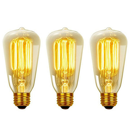 Globe Electric 3-Pack 60W Vintage Edison S60 Light Bulbs