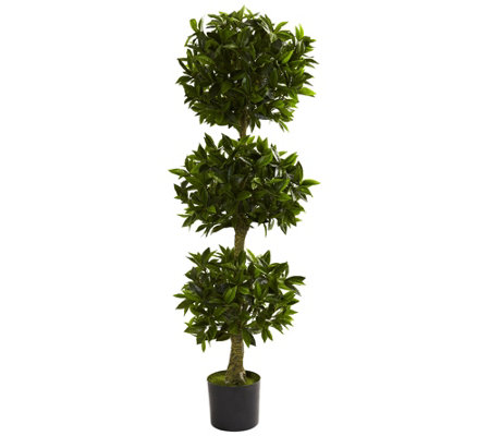 5' Triple Bay Leaf Topiary by Nearly Natural