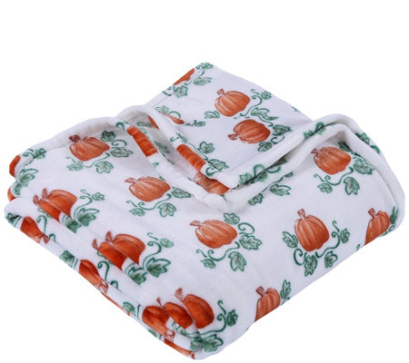 Berkshire Blanket Velvet Soft Pumpkin Picking Throw Blanket