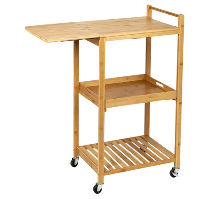 Honey-Can-Do Bamboo Kitchen Cart With Wheels — QVC.com
