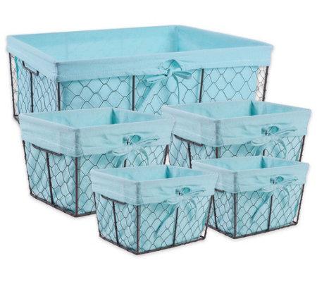Design Imports Set Of 5 Lined Chicken Wire Storage Baskets U2014 QVC.com