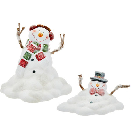 """As Is"" Set of 2 Melting Snowman Figures by Valerie"