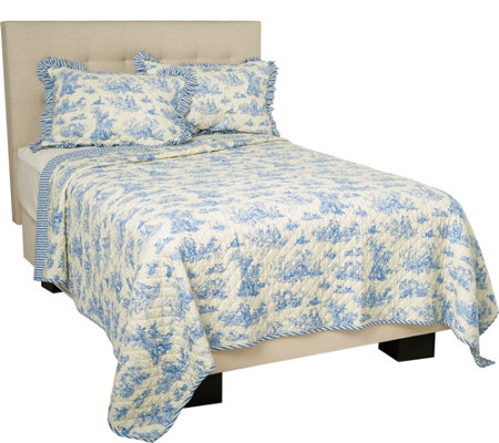 100% Cotton Reversible Toile Quilt with Shams