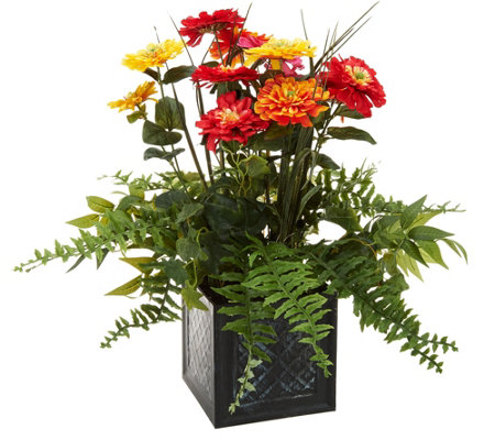 "24"" Zinnia Blossoms in Metal Planter by Valerie"