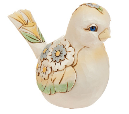 Jim Shore Heartwood Creek White Floral Spring Bird Figurine