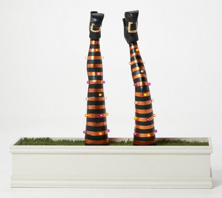 S 2 Illuminated Indoor Outdoor Decorative Witch Legs With Stakes Qvc Com