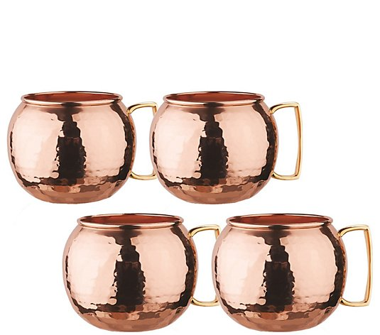 Old Dutch S/4 Hammered Solid Copper Globe Moscow Mule Mugs