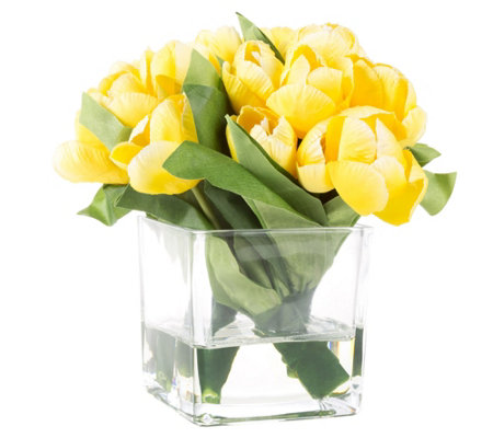 Yellow Tulip Artificial Flowers with Vase by Pure Garden