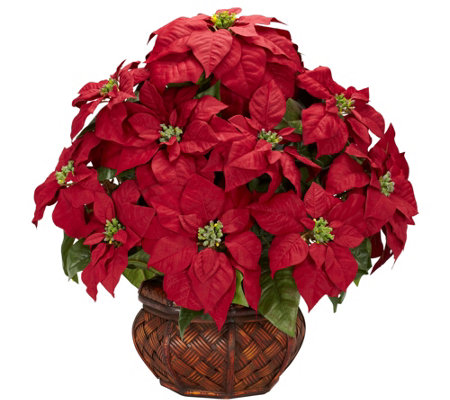 Poinsettia Decorative Planter Arrangement by Nearly Natural