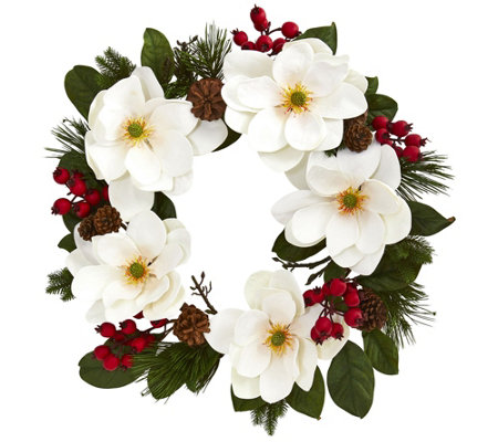 "26"" Magnolia, Pine and Berries Wreath by NearlyNatural"