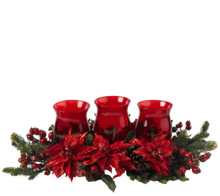Poinsettia Berry Triple Candleabrum By Nearlynatural