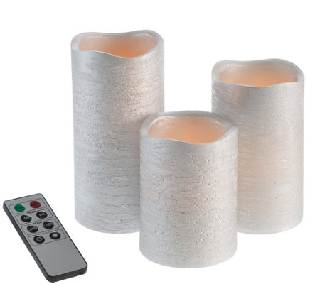 Lavish Home Set of 3 Silver Metallic FlamelessLED Candles
