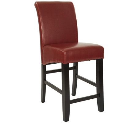 "24"" Parsons Bar Stool in Red Faux Leather by Office Star"