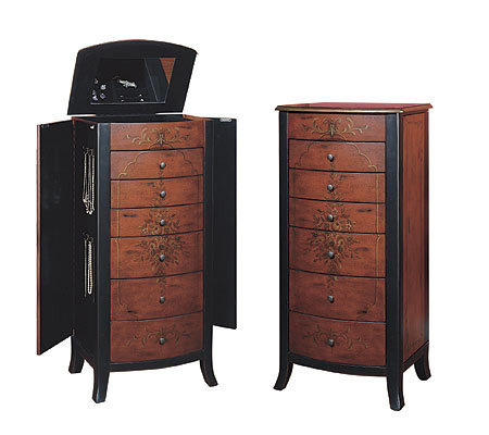 Powell asian red jewelry armoire