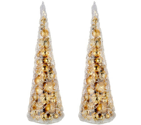"Set of (2) 16"" Illuminated Spun Sugar Ornament Trees by Valerie"