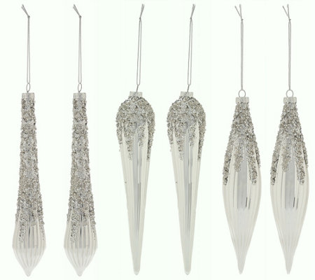 """As Is"" Set of 6 Glittered Icicle Ornaments by Valerie"