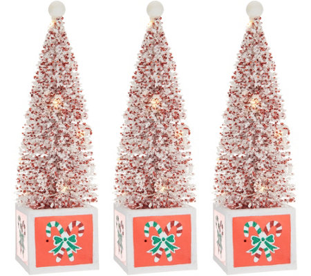 S/3 Illuminated Bottlebrush Trees with Holiday Bases by Valerie
