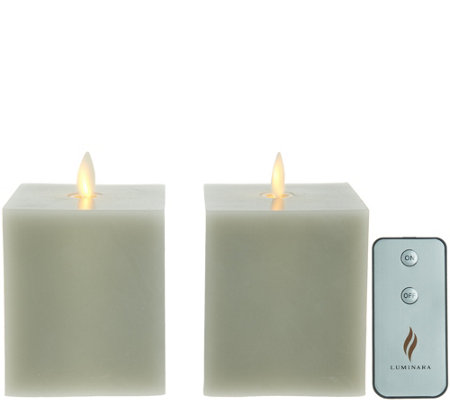 "Martha Stewart Set of (2) 4"" Flameless Wax Square Shape Pillar Candles"