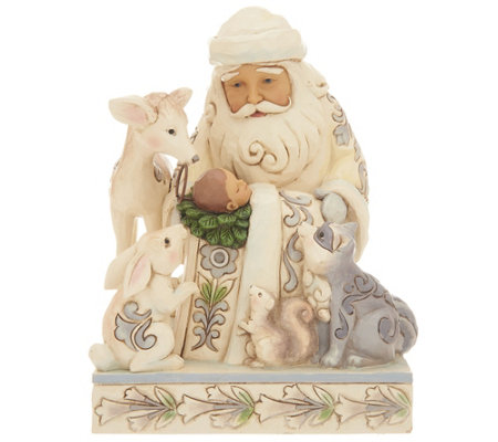 Jim Shore Heartwood Creek White Woodland Santa with Baby Jesus