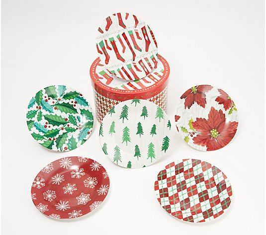 "Set of (6) 7"" Holiday Dessert Plates in Round Gift Box"