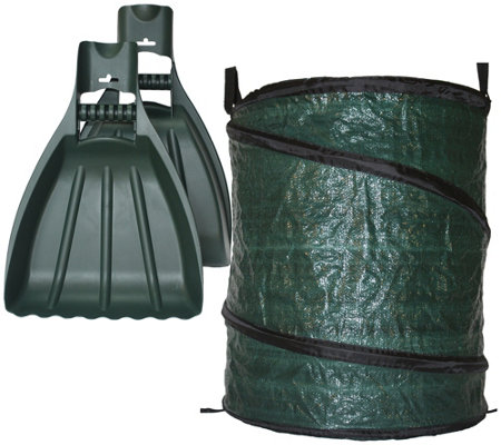 Xl Leaf Claws Hand Rake Scoops W 30 Gal Reusable Pop Up Bag