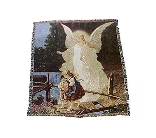 Jacquard Woven Guardian Angel 100 Cotton 48 X 60 Throw Qvc Com