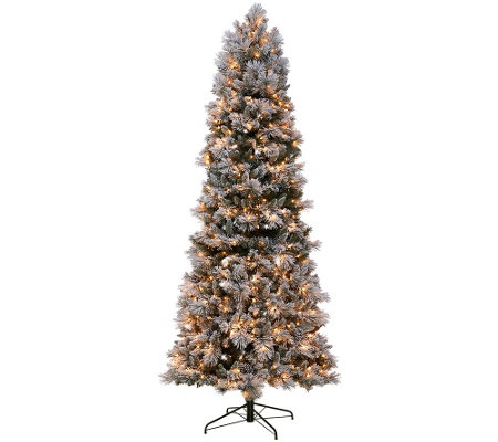 kringle express flocked 9 winter slim christmas tree