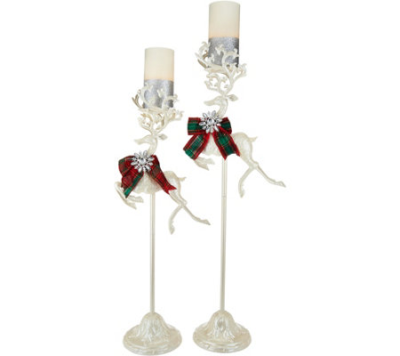 Kringle Express S/2 Reindeer on Pedestals with Flameless Candles