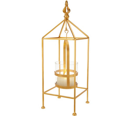 "Scott Living 16"" Metal Lantern with Hanging FlamelessCandle"