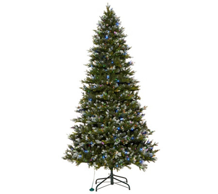 Scott Living 9' Snow Dusted LED Color Flip Fir Tree with 7 Functions