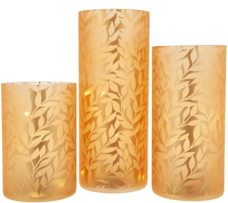 Set of 3 Frosted Glass Pillars w/ Microlights by Valerie
