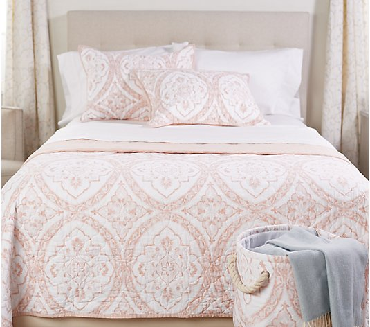 Casa Zeta-Jones Cotton Reversible Twin Quilt w/ Sham & Storage Bin