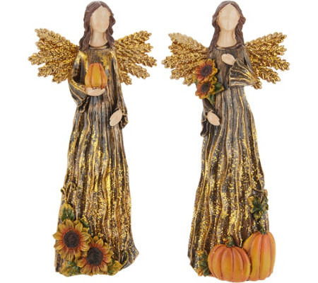 Plow & Hearth Set of 2 Autumnal Angel Figurines