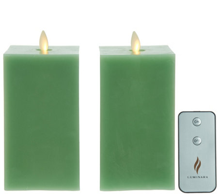 "Martha Stewart Set of (2) 6"" Flameless Wax Square Shape Pillar Candles"