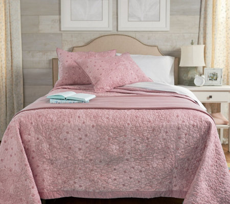Home By Shr 100 Cotton Quilted Vine Full Bedspread Set
