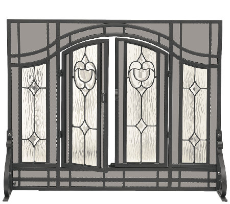 Plow Hearth Large Floral Fireplace Screen W Glass Panel Door