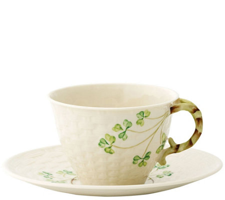 Belleek Shamrock Teacup and Saucer