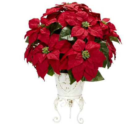 Poinsettia Metal Planter Flower Arrangement byNearly Natural