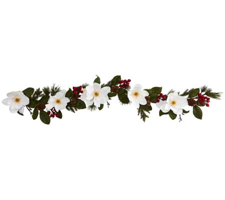 6' Magnolia, Pine and Berries Garland by NearlyNatural