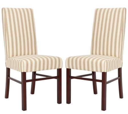 Set of Two Tan and White Striped High Back Dining Chairs