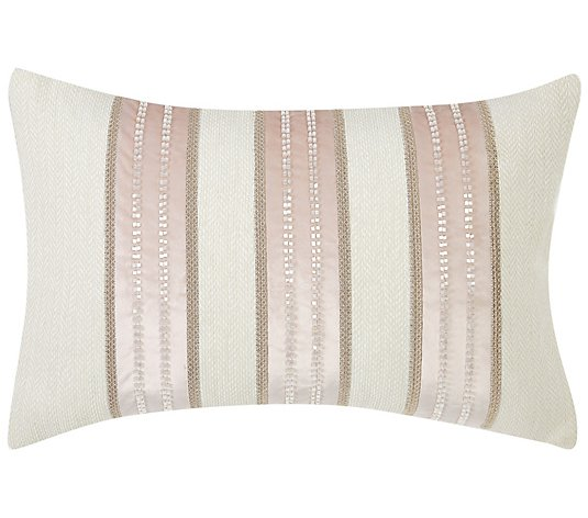 "Charisma Melange Beaded Stripe 14"" x 22"" Decorative Pillow"