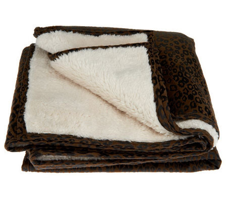 Dennis Basso Faux Suede Throw with Faux Sherpa Lining