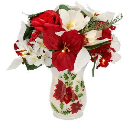Bethlehem Lights Mixed Christmas Flower Bouquet In Lit Vase Qvc