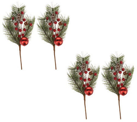 Set of 4 Jingle Bell Pinecone and Berry Picks by Valerie