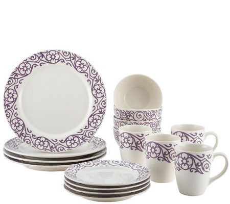Rachael Ray 16-Piece Scroll Stoneware Dinnerware Set