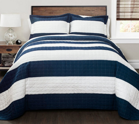 Navy White Stripe 2 Piece Twin Quilt Set By Lush Decor