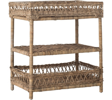 Ajani Wicker 3 Tier Accent Table by Valerie
