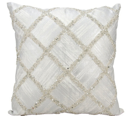 "Kathy Ireland Beaded Diamonds 20"" x 20"" Throw Pillow"